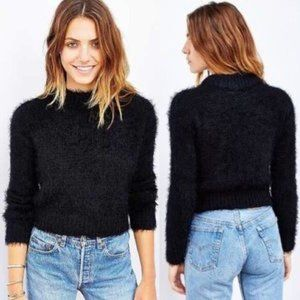 Silence + Noise Fuzzy Black Cropped Sweater Small